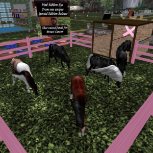 Plenty of retired pet horses to choose from with the Pink Ribbon Eye for breast cancer. Includes a black unicorn.